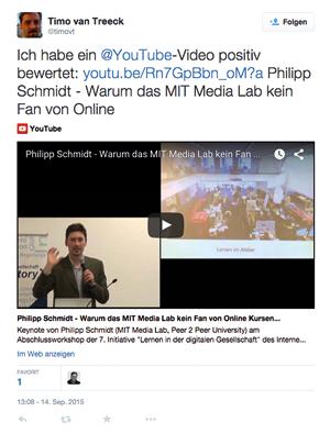Timo Van Treeck's Beitrag auf youtube