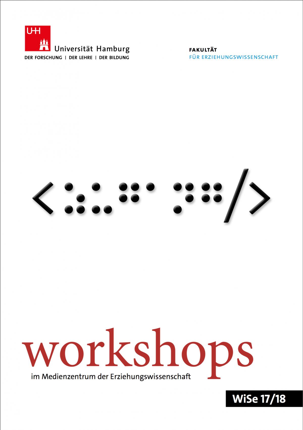 """Titelblatt des Workshopprogramms des Medienzentrums, WiSe 17/18. Darauf abgebildet ist das Wort """"Zugang"""" in Brailleschrift."""
